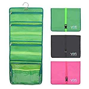 Hanging Toiletry Bag by Yofi Nurture Yourself: Organizer for Cosmetics, Makeup, Jewelry, Toiletries, Shaving Tools in Green Expandable, Polyester Case with Zippers and Sections for Home or Traveling