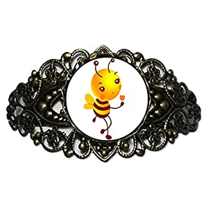 Chicforest Bronze Retro Style The Drink Honeybee Flower Cuff Bracelet