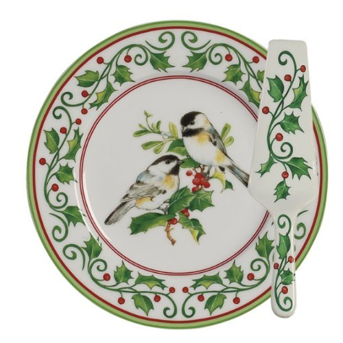 (Andrea by Sadek CW924 Christmas Cake Plate and Server Chickadee and Holly Cake Set Serveware )