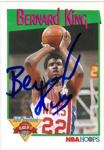 Autographed Basketball Bernard King - Autograph Warehouse 42684 Bernard King Autographed Basketball Card New Jersey Nets 1991 Hoops No. 322