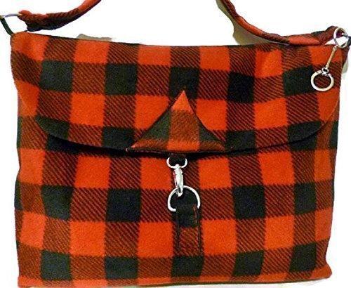 Buffalo Check Bag Cross Body Messenger Red Plaid Fleece Handmade by PHILLY ARTFUL HOME