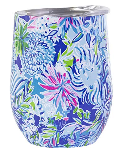 (Lilly Pulitzer Stainless Steel Wine Glass with Lid, Holds 12 Ounces, Lion)