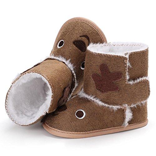 YiJee Baby Mädchen Niedlich Elch Schuhe Herbst und Winter Modisch Kinderschuhe mit Weiche Sohlen Braun