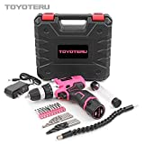 TOYOTERU Powerful 12 Volt Lithium-Ion Cordless Drill Driver Kit Pink Tool for Women- 25PCS Drill Accessory, 2 Gears,1500mAh Battery & Charger in Blow Mold Case
