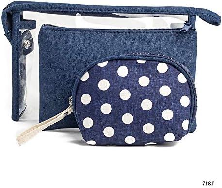 化粧品袋 女の子3人の女性のための化粧品列車ウォッシュバッグスーツケースの美しさのケースにパターニングジッパーの気質のオーガナイザー収納袋 旅行化粧収納ボックス (Color : Dark blue)