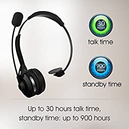 Bluetooth Headset, FRiEQ Noise Canceling Wireless Bluetooth Headset with Microphone – Multipoint Capabilities and 30 Hours of Talk Time