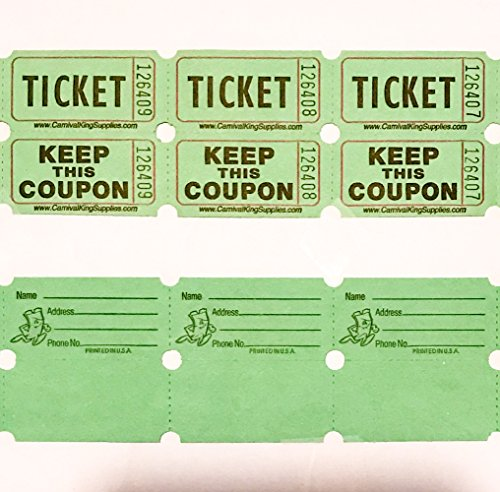 fb 100 Green Colored Raffle Tickets Double Roll 50/50 Carnival