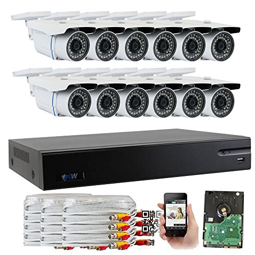 GW Security 16-Channel HD-TVI 1080P Home Security System with (12) x True HD 1080P Outdoor / Indoor Bullet Security Cameras and 4TB HDD, QR Code Scan Free Remote View