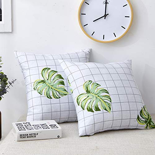 Spring Green Leaves Throw Pillow Covers Tropical Palm Monstera Leaves Outdoor Cushion Covers Square Decorative Pillowcases with Black and White Grid Plaid Background 18x18 inch Set of 2