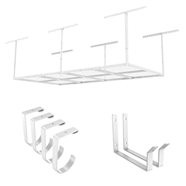FLEXIMOUNTS 4x8 Overhead Garage Rack with Add-on Hooks Set Heavy Duty Height Adjustable Ceiling Racks (22''-40  Ceiling Dropdown), White