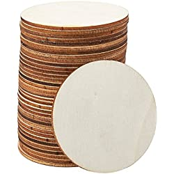 Unfinished Wood Circle - 36-Pack Round Natural Rustic Wooden Cutout for Home Decoration, DIY Craft Supplies, 3-inch Diameter, 0.1 inch Thick
