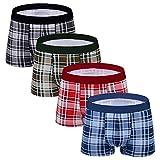 M MOACC Men's Underwear Trunks Cotton Brief Pack 4 Soft Waistband Plaid Low Rise Boxer Briefs,Size M
