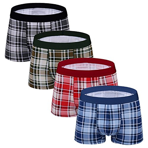 (Men's Underwear Trunk 4 Pack Stretch Cotton Plaid Low Rise Trunks No Fly,Large)