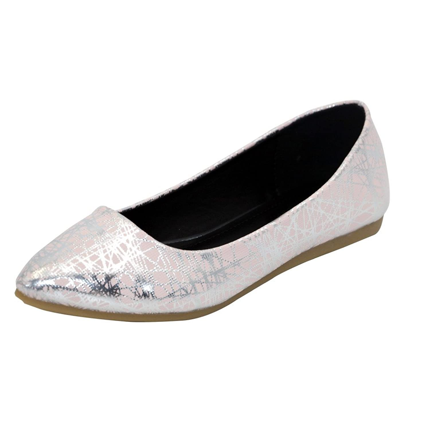 AalarDom Women's Soft Material Pointed-Toe No-Heel Assorted Color Pull-On Pu Flats-Shoes