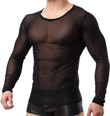 Bearbelly Chaleco Camiseta de Malla Hombre Lencería Erótica ...