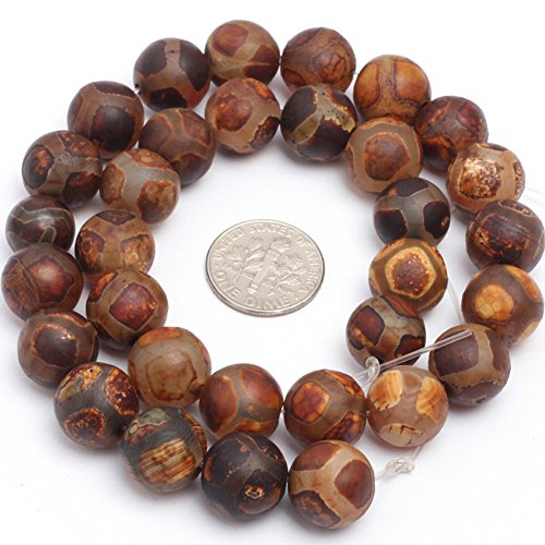 12mm Semi Precious Round Frost Vintage Banded Football Wooden Agate Gemstone Beads for Jewelry Making Strand (Vintage Wooden Bead)