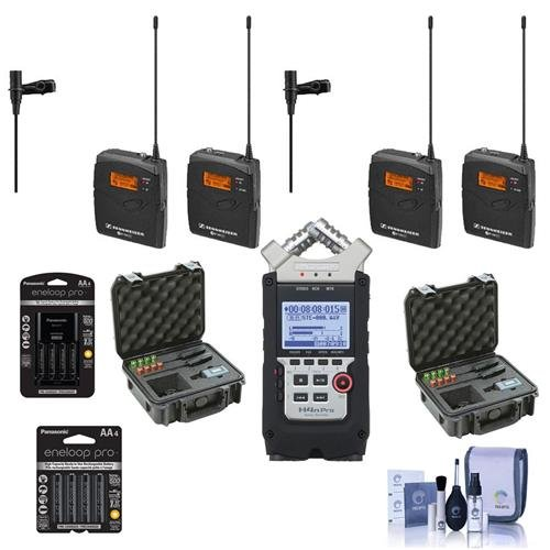 Sennheiser 2x ew 112-p G3-A Wireless Mic Kit with EK 100 G3 Diversity Receiver Band A - Bundle with Zoom H4n Pro Track Recorder, Panasonic Charger and AA Batteries, 2x SKB iSeries Mic Case, and More by Sennheiser