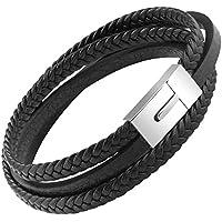 OSTAN Mens Genuine Leather Bracelet Stainless Steel Mens Bracelet Braided Wristband -