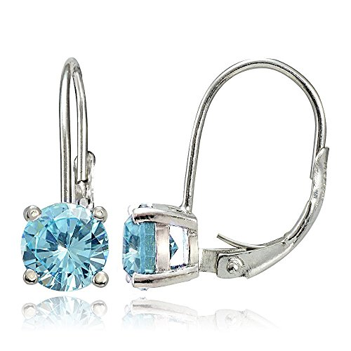 - Sterling Silver Blue Topaz 6mm Round Prong-Set Leverback Earrings