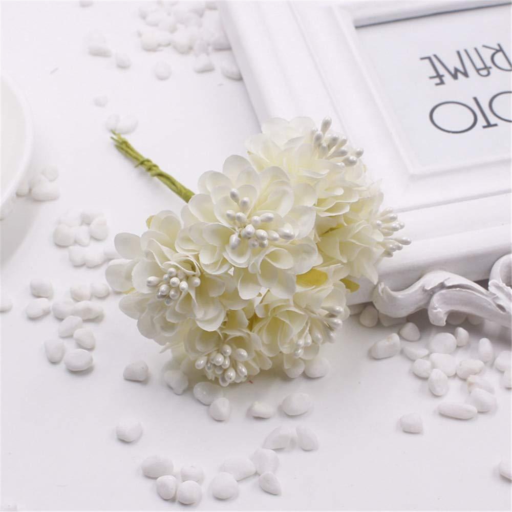 12個/ロットミニシルク造花ローズブーケ ウェディングデコレーションペーパーフラワー DIYスクラップブックフラワーボール 安価な花 B07H41LJ5W 3