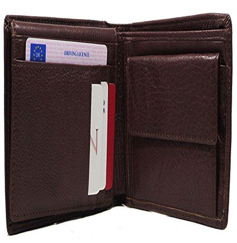 Neuf Homme Véritable monnaie En De Avec Marron Cuir Crédit Noir Carte Pour Support Porte Portefeuille Souple 5TB6R