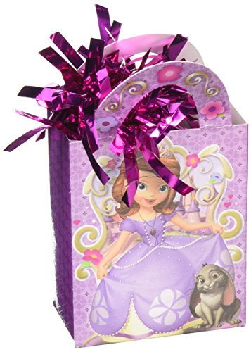 Amscan Disney Sofia the First Mini Tote Party Balloon Weight Decoration, Cardstock (12 Piece), 5.7 (Sofia The First Centerpieces)
