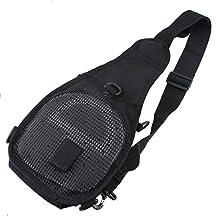 AGPtEK Outdoor Tactical Shoulder Backpack, Military & Sport Bag Pack Daypack for Camping, Hiking, Trekking, Rover Sling(Black/Green/Yellow)