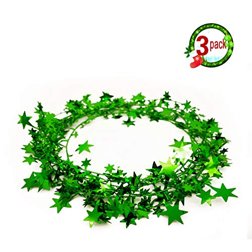 3PCS Wire Star Garland Tinsel Stars Garland Christmas Decorations Party Accessory,25 Ft x 3 (Green)