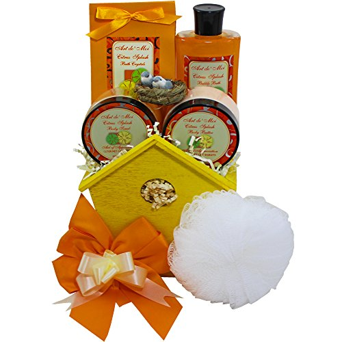 (A Little Birdie Told Me Spa Bath and Body Set Gift Basket (Citrus Scented) 6 Piece Kit with Shower Gel, Lotion, Body Scrub, Body Butter, Bird House & more Great Idea for Woman, Mother & Teenagers)