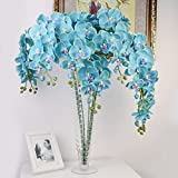 "Calcifer 31""Artificial Silk Phalaenopsis Orchid Stem Bouquets Artificial Flowers for Wedding Party Home Garden Decor (1, Fluorescent Blue)"