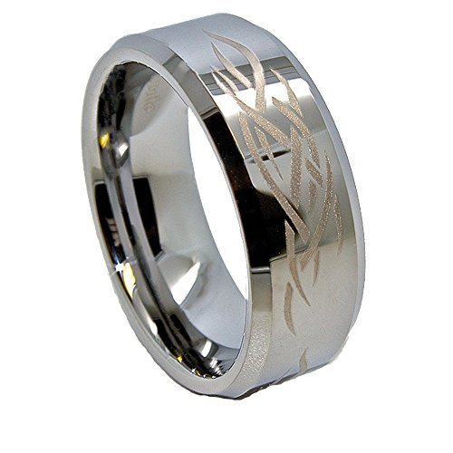 - 8mm Polished Tungsten Carbide Tribal Flame Design Wedding Band Size 8.5 (8 1/2)