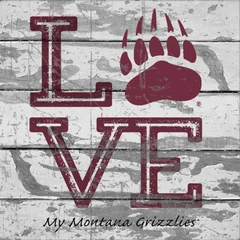 Prints Charming College Love My Team Logo Square Montana Grizzlies Unframed Poster 12x12 (Montana Logo Square)