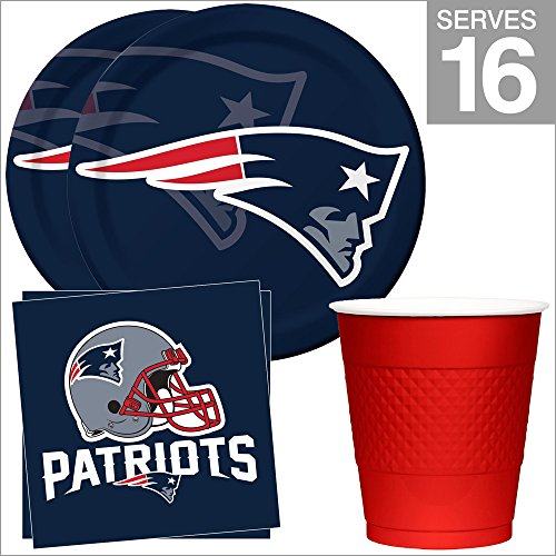 New England Patriots NFL Party Supplies Standard Kit for 16 (Patriots Party Supplies)