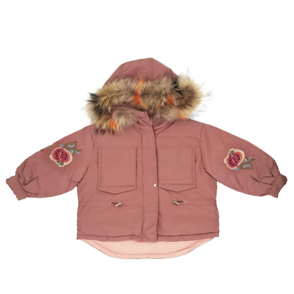 rose 100cm RSTJ-Sjc Enfants Filles Manteau Bas Veste lÂche Capuche épaissir Fleur Broderie Outwear, Manteau d'hiver pour Enfants