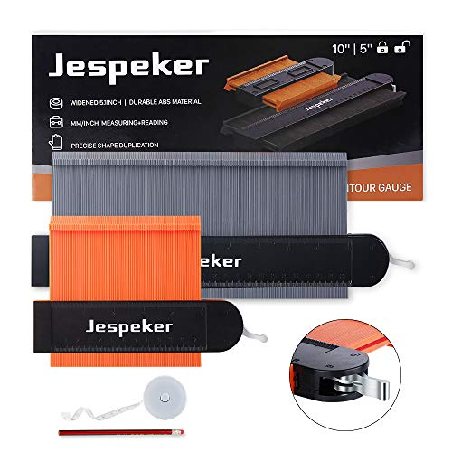 Jespeker Contour Gauge Duplicator with Lock, 10 inch 5 inch Widen Shape Duplication Gauge Tool, Master Outline Measuring Plastic Ruler for Corner, Pipe, Tile, Flooring, Molding, Woodworking and DIY