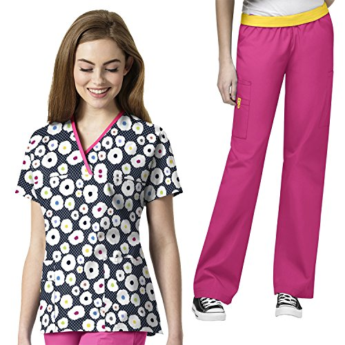 Wonderwink Women's Origins Y-neck Mock PRINT Scrub Top & The Quebec Pant Scrub set [XXS - 5XL]+ FREE (Mock Neck Set)