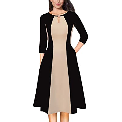 VFSHOW Womens Colorblock Keyhole Pockets Work Office Business Casual A-Line Dress at Women's Clothing store