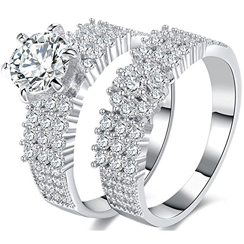 TEMEGO 2 Piece Silver Wedding Band Engagement Ring Set,Halo Cluster Small CZ Solitaire Bridal Ring Set