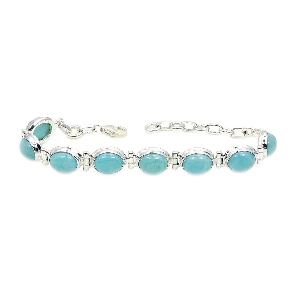 'Caribbean Princess' Sterling Silver Genuine Dominican Larimar Bracelet, Adjustable From 6''-7.5''