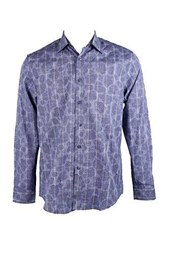 Tasso Elba Men's 100% Cotton Paisley Contrast Cuff Shirt, Amparo Blue, Small from Tasso Elba