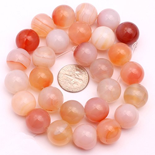 JOE FOREMAN 14mm Red Leaf Carnelian Semi Precious Gemstone Round Loose Beads for Jewelry Making DIY Handmade Craft Supplies 15