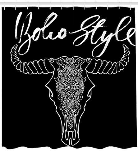 ASOCO Fabric Shower Curtain Mandala Tattoo Cow Head Ornament Buffalo Skull Native Indian Art Black Bathroom Shower Curtains Resistant Waterproof Set of Hooks 72X78 Inches