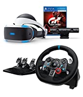 Playstation VR Enhanced Gran Turismo Sport with Logitech Dual-Motor Feedback Driving Force G29 Racing Wheel (PC + PS4 Compatible) Bundle