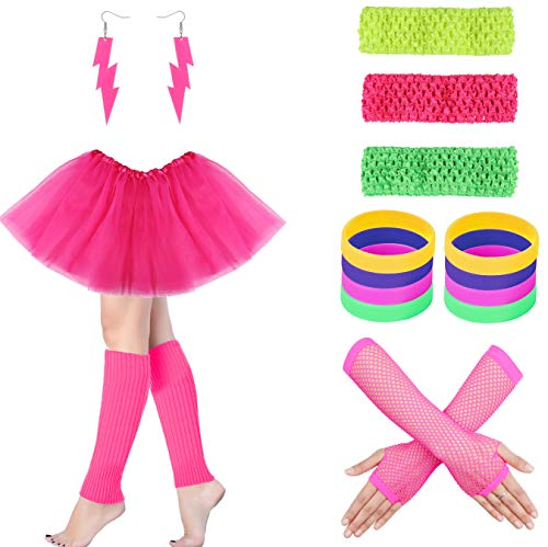 LOYALLOOK 80s Outfit Costume Accessories Leg Warmers Gloves Neon Earrings Bracelet Sets for 1980s Theme Party ()