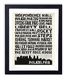 Philadelphia Landmarks Skyline and Typography Dictionary Art Print 8x10