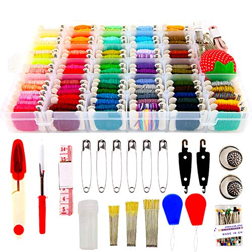 200pcs+ Embroidery Floss Cross Stitch Threads,Bracelet String Kit with Organizer Storage Box-Included 100pcs Friendship Bracelet Craft Floss,100pcs More Cross Stitch Stitch Tools Embroidery Kit