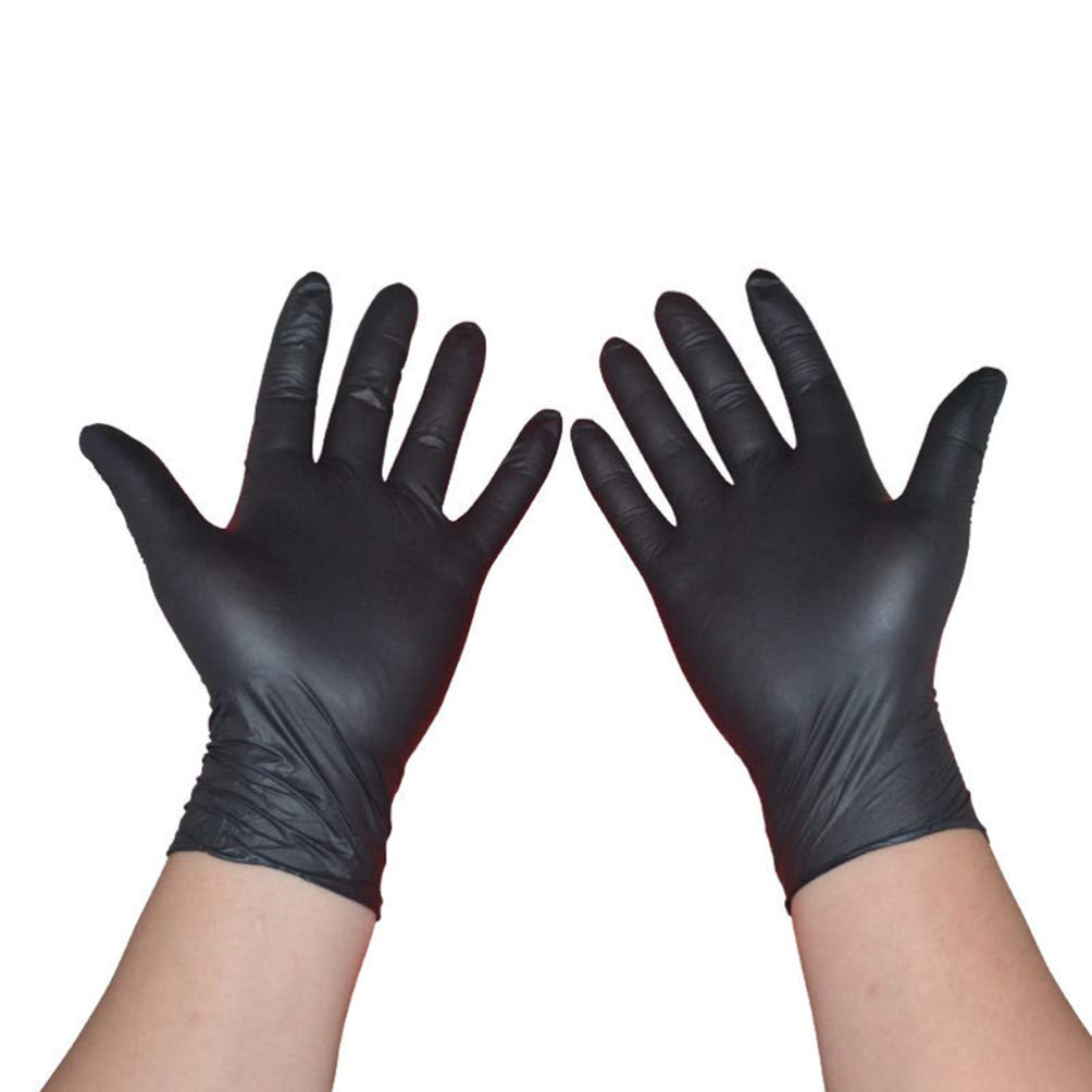 Yardwe 100PCS Black Latex Powder Free Medical Exam Tattoos Piercing Gloves Heavy Duty Powder Free Nitrile Medical Gloves Box Tattooist Tattoo Mechanic Size M