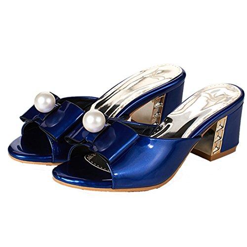 AIYOUMEI Damen Lackleder Peep Toe Blockabsatz Pantoletten mit Schleife und 5cm Absatz Bequem Modern Sandalen IPTALu