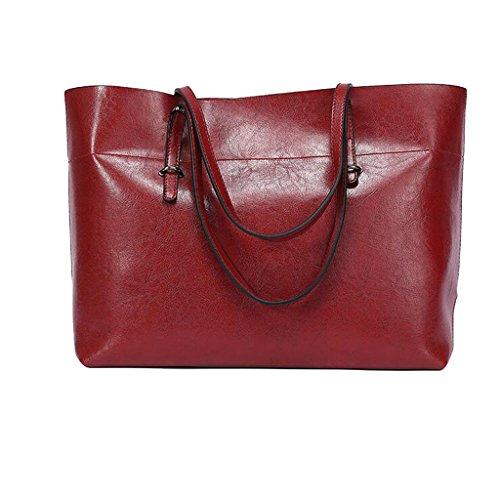 À la mode Sacs à main en cuir souple pour femmes grande capacité sac rétro sac à main sac à bandoulière marron Rouge
