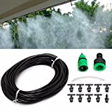 (US) KINGSO 10m Home Garden Patio Misting Micro Flow Drip Irrigation Misting Cooling System with 10pcs Plastic Mist Nozzle Sprinkler for Plant Flower
